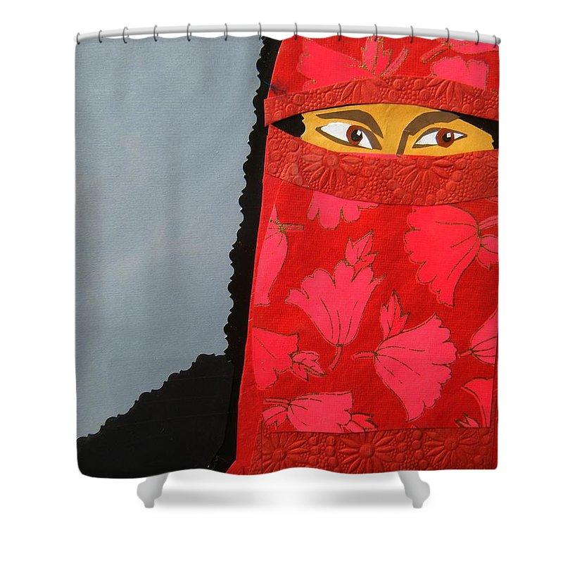 Woman Shower Curtain featuring the mixed media Chador by Debra Bretton Robinson