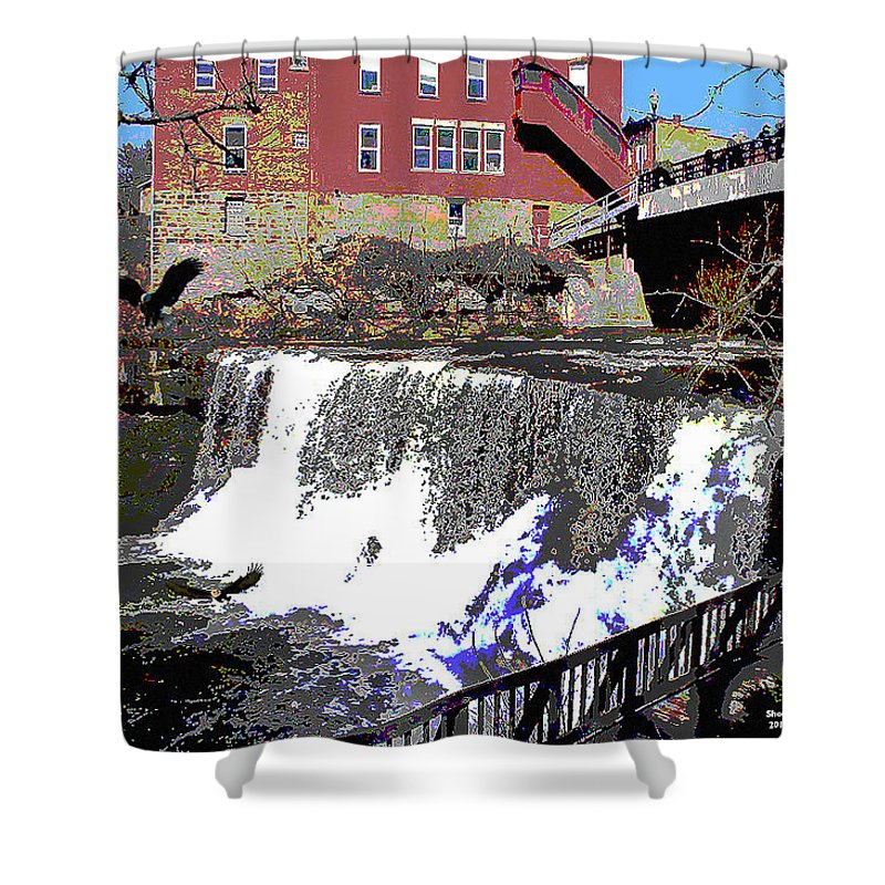 Chagrin Falls Shower Curtain featuring the mixed media Chagrin Falls by Charles Shoup