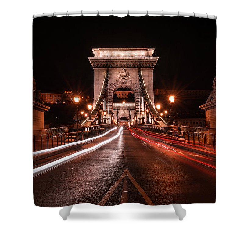 Tourism Shower Curtain featuring the photograph Chain Bridge At Midnight by Jaroslaw Blaminsky