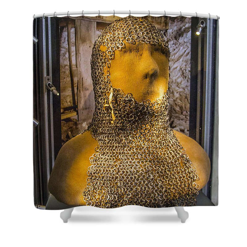 Tofta Shower Curtain Featuring The Photograph Chain Mail Coif By Roberta Bragan