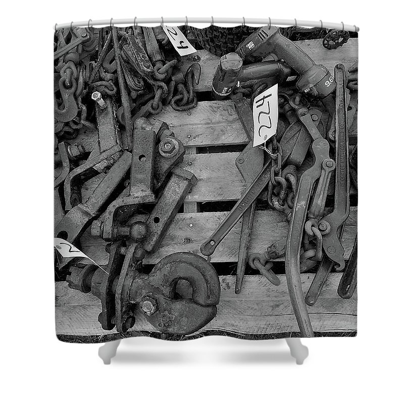 Farm Auction Shower Curtain featuring the photograph Chain Pallet Bw by Mark Victors
