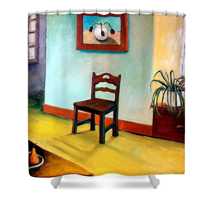 Apartment Shower Curtain featuring the painting Chair And Pears Interior by Michelle Calkins