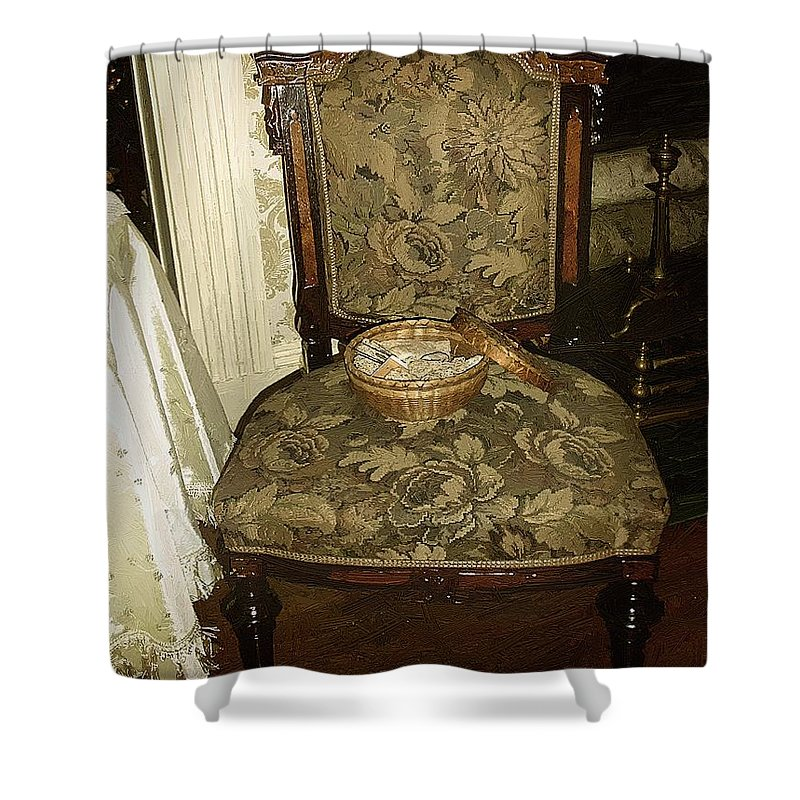 Antiques Shower Curtain featuring the painting Chair By The Hearth by RC DeWinter