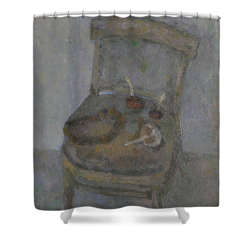 Still Life Shower Curtain featuring the painting Chair by Robert Nizamov