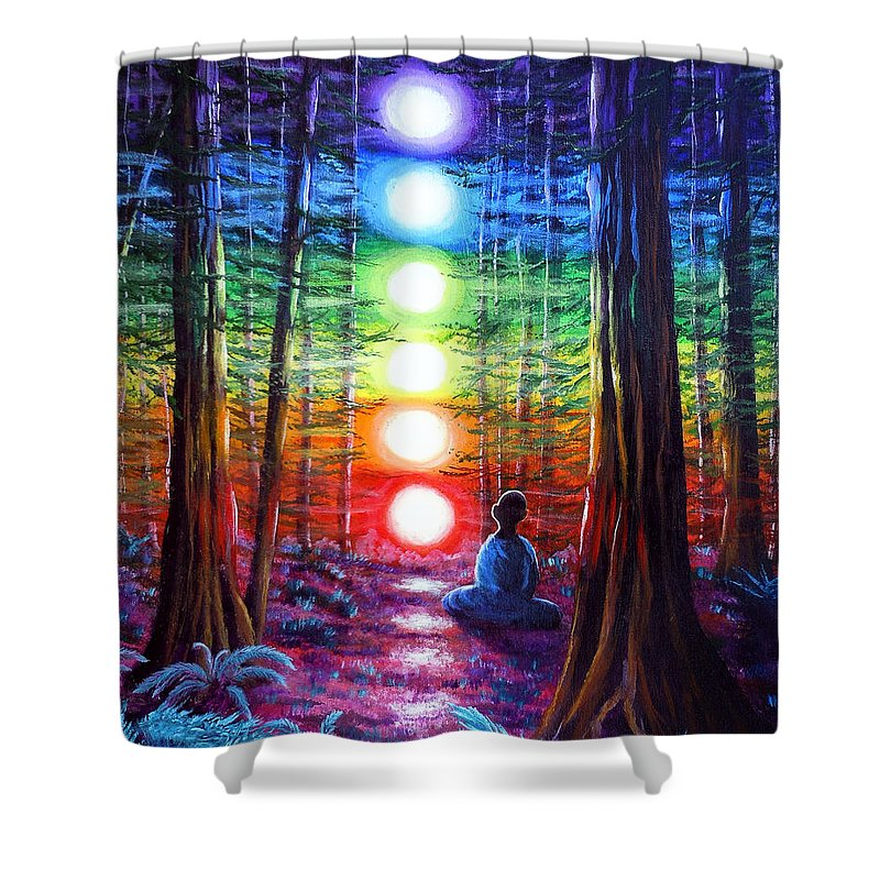 Zen Shower Curtain featuring the painting Chakra Meditation In The Redwoods by Laura Iverson