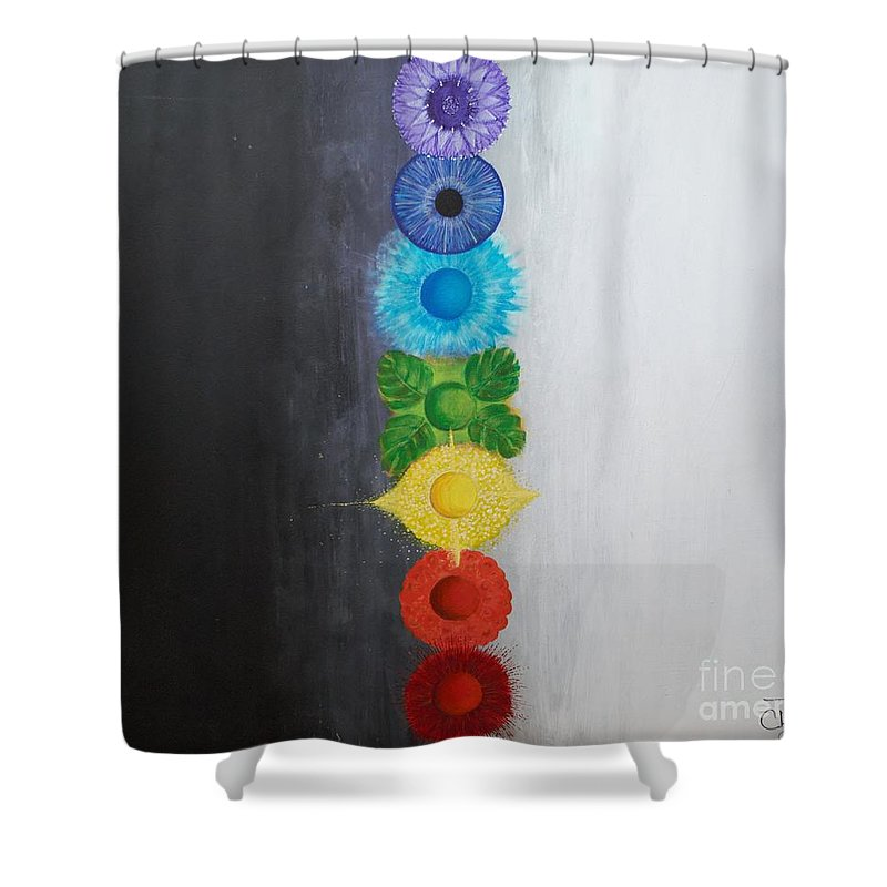 Christine Noble Shower Curtain featuring the painting Chakra Painting by Christine Noble