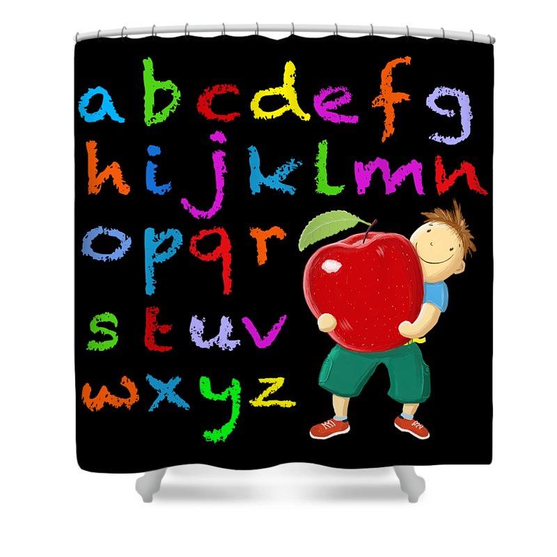 Pupil Shower Curtain featuring the digital art Chalk Board Alphabet B by David Brodie