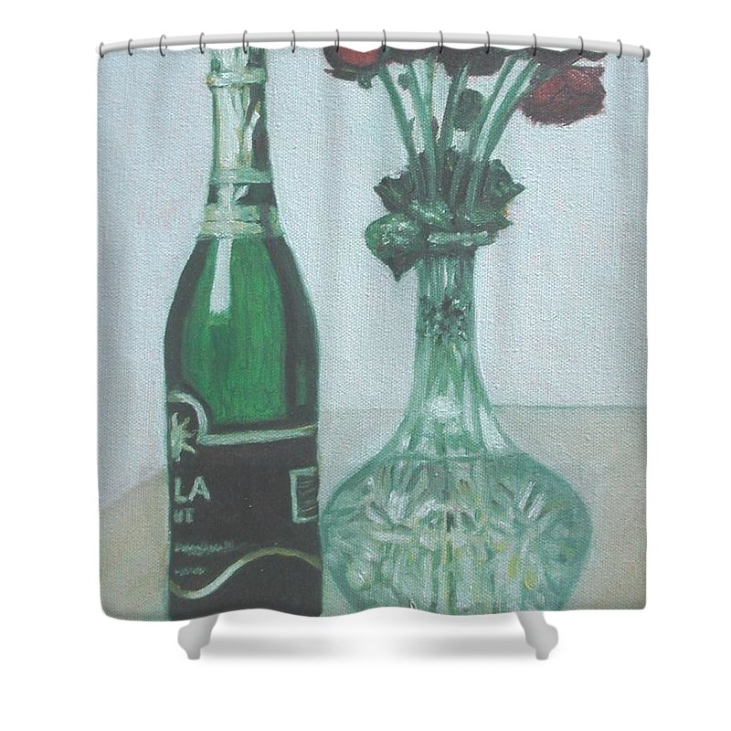 Champagne Shower Curtain featuring the painting Champagne And Roses by Usha Shantharam