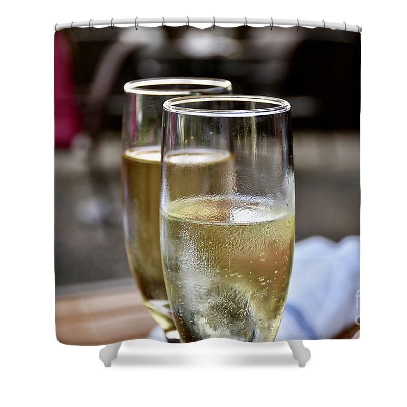Adult Beverage Shower Curtain featuring the photograph Champagne Glasses by Jeramey Lende