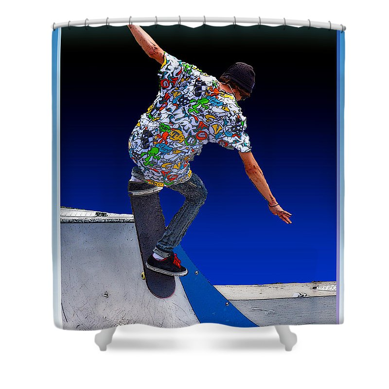 Champion Shower Curtain featuring the digital art Champion Skater by Terry Anderson