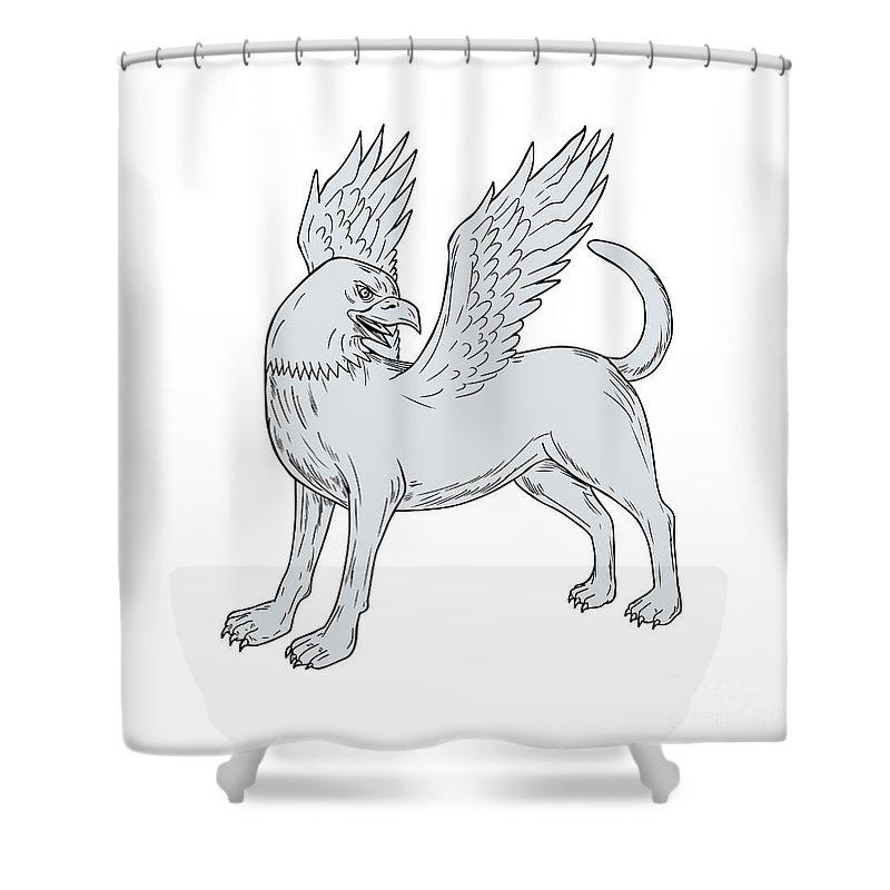 Drawing Shower Curtain featuring the digital art Chamrosh Side Drawing by Aloysius Patrimonio