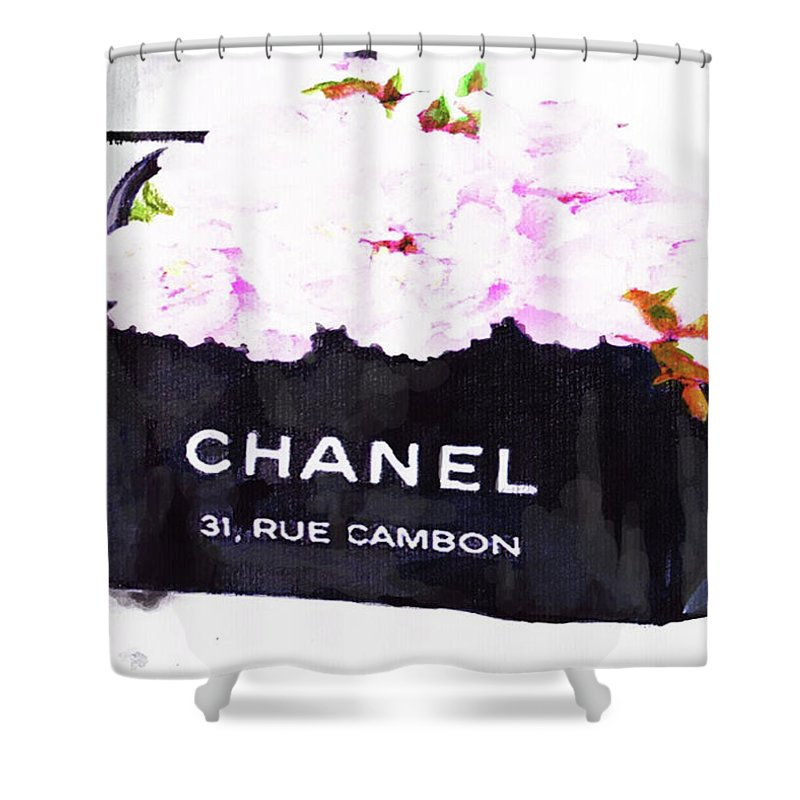 Chanel Bag With Peony Shower Curtain For Sale By Del Art