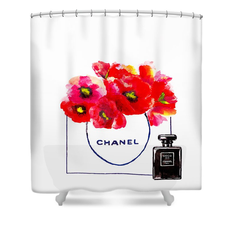 Chanel bag with red poppy flower shower curtain for sale by del art chanel bag shower curtain featuring the painting chanel bag with red poppy flower by del art mightylinksfo