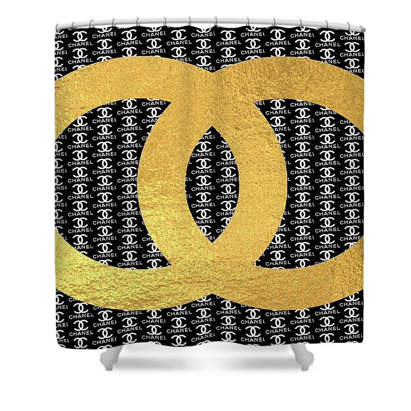 Chanel Shower Curtain Featuring The Mixed Media Black And White Gold Logo By Del