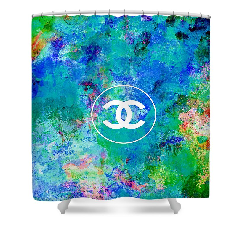 Chanel Shower Curtain featuring the painting Chanel Blue White Red Black 10 by Del Art