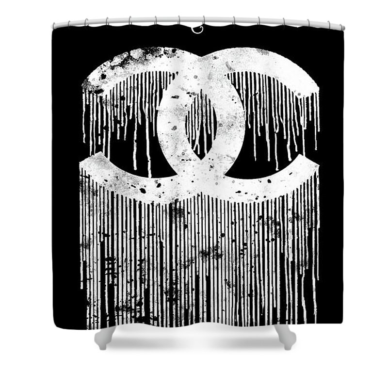 Chanel Dripping Poster Print Citation Logo Shower Curtain For Sale By Del Art