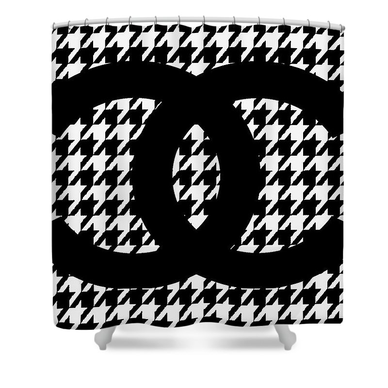 Chanel Shower Curtain Featuring The Mixed Media Logo Black Hahnentritt Pattern By Del Art