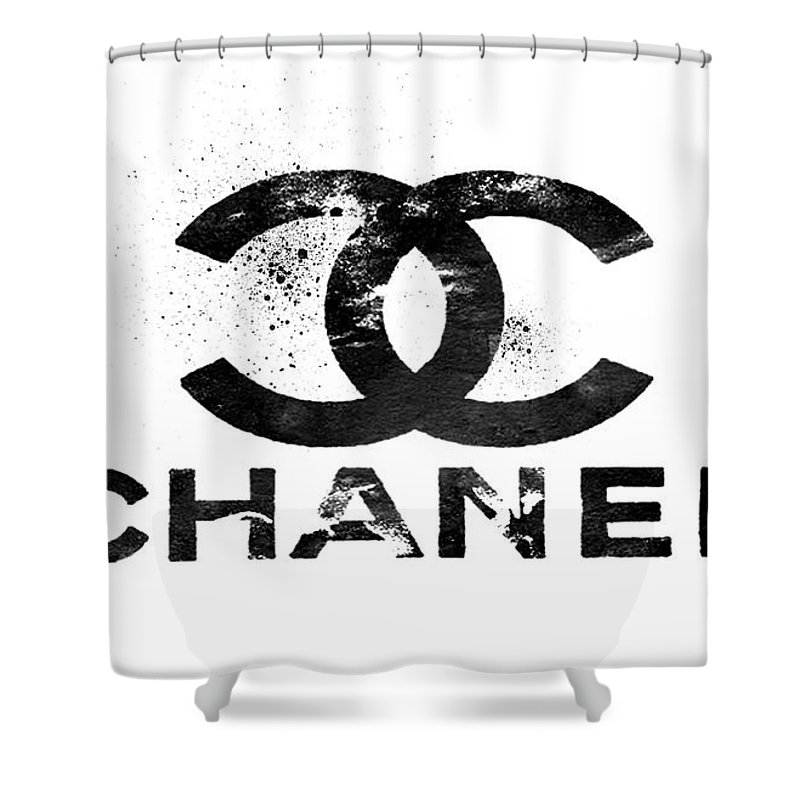Chanel Shower Curtain Featuring The Painting Logo Black By Del Art