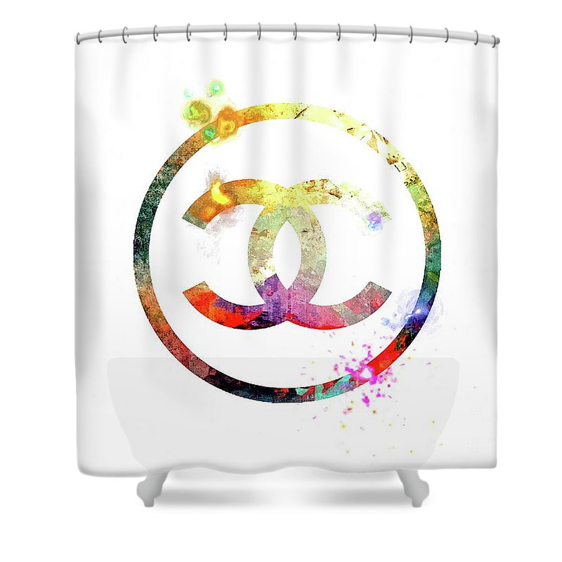 Chanel Logo Shower Curtain Featuring The Mixed Media By Daniel Janda
