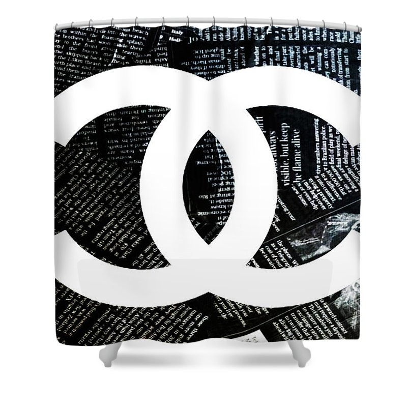 Chanel Shower Curtain Featuring The Mixed Media Logo Newspaper 4 By Del Art