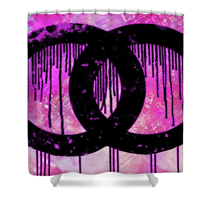 Chanel Dripping Shower Curtain Featuring The Painting Logo Print Poster