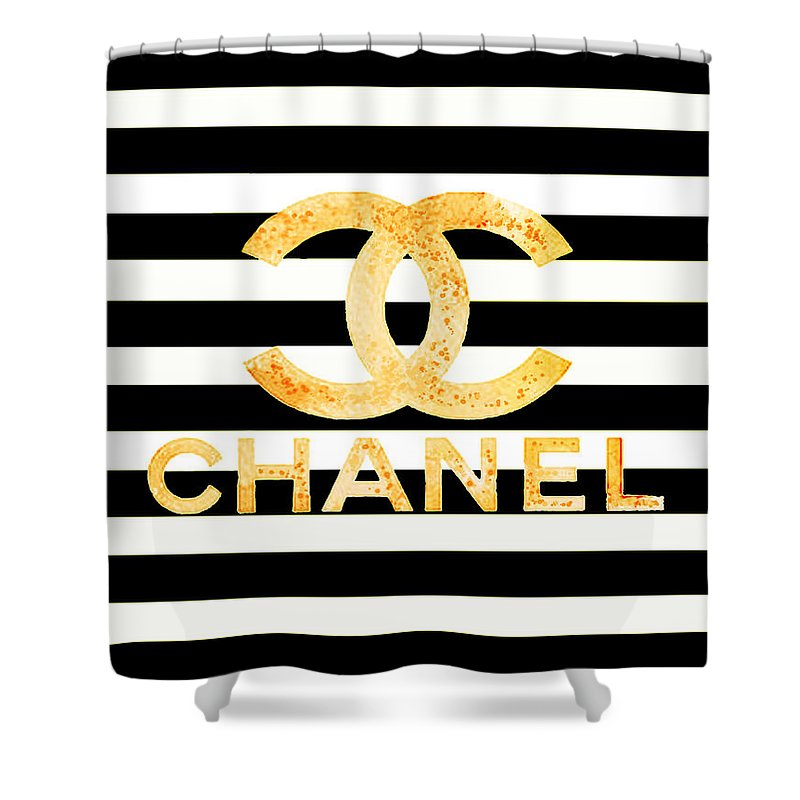 Chanel Logo Yellow Shower Curtain For Sale By Del Art
