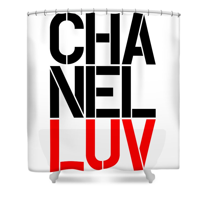 Chanel Shower Curtain Featuring The Painting Luv 5 By Nikita