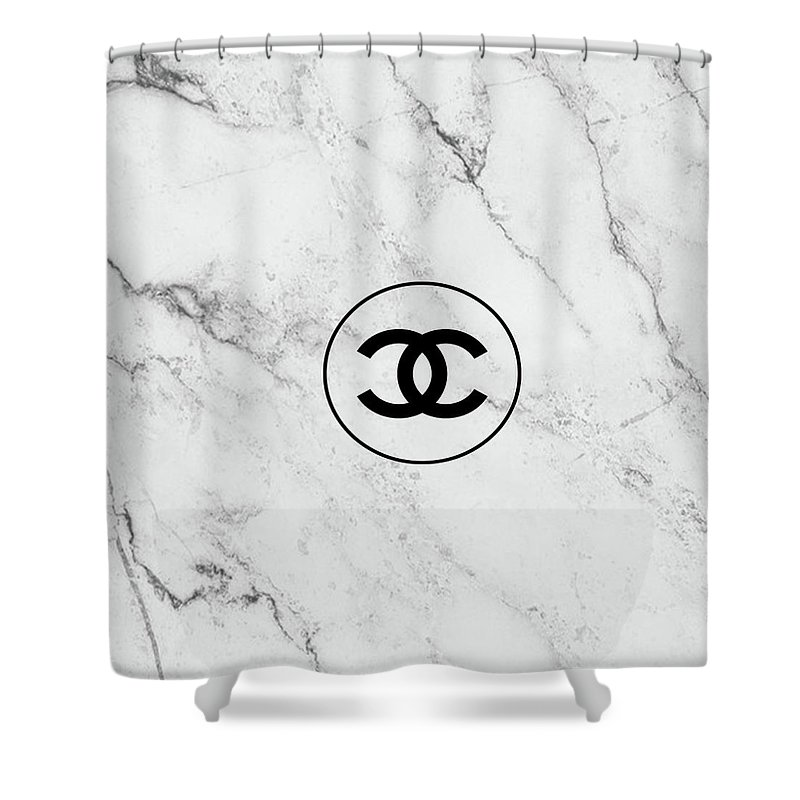 Chanel Marble Logo Black Shower Curtain For Sale By Del Art