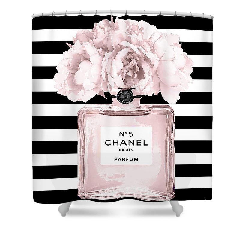 Chanel Shower Curtain featuring the mixed media Chanel N.5, Black And White Stripes by Del Art