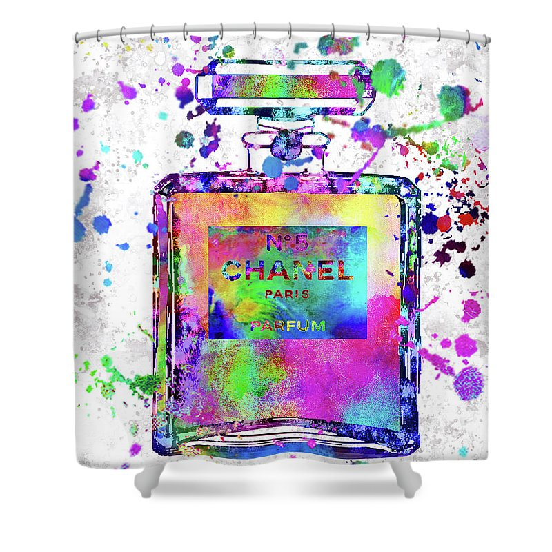 Chanel Shower Curtain featuring the painting Chanel N.5 Colorful 5 by Del Art