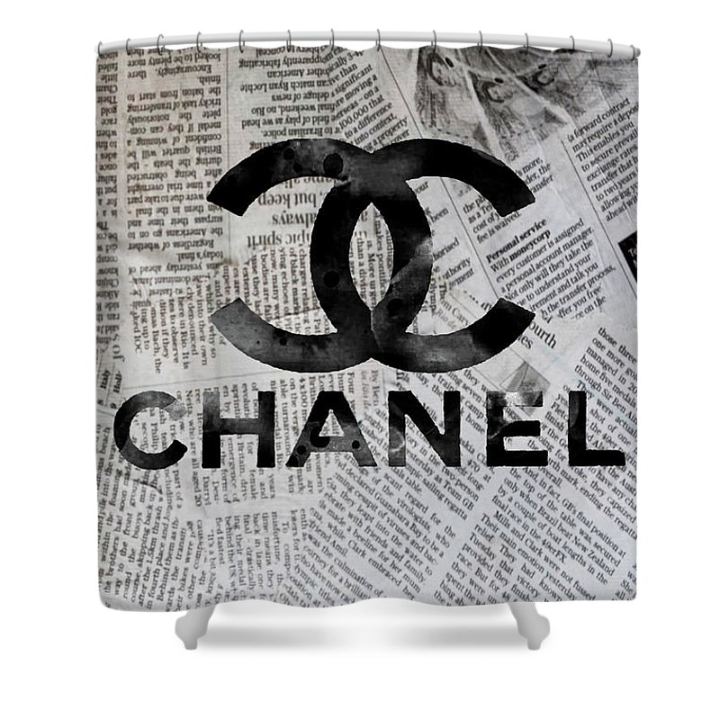 Chanel Shower Curtain Featuring The Mixed Media Newspaper Logo 2 By Del Art