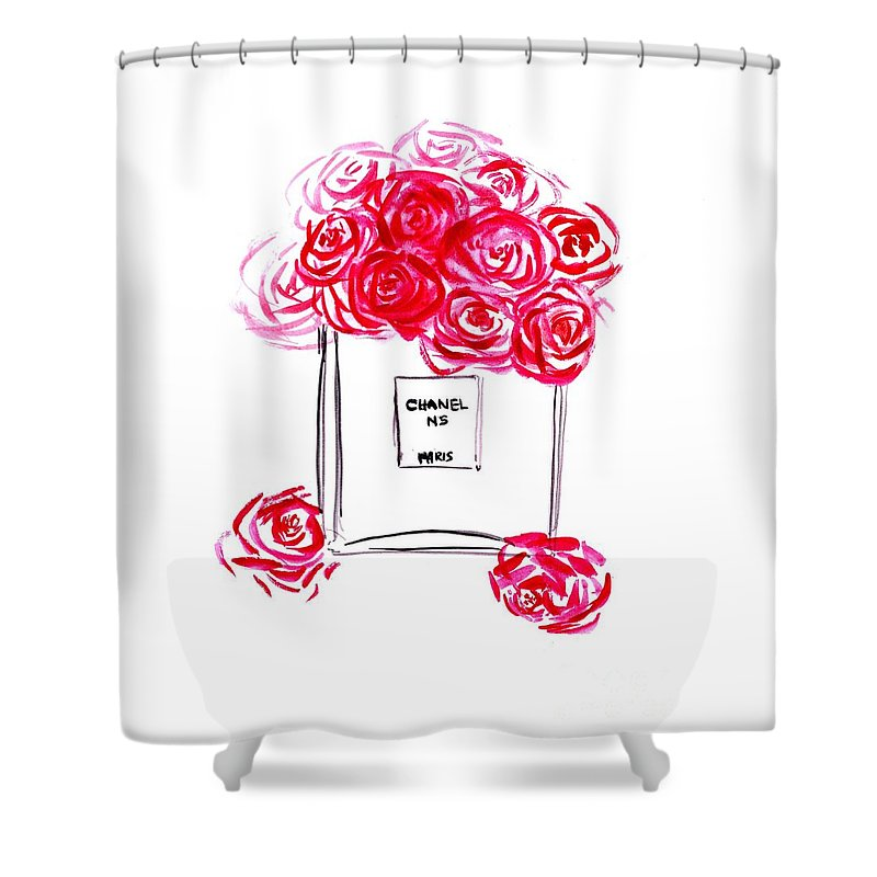 Shower Curtain Featuring The Painting Chanel Peony By Sweeping Girl