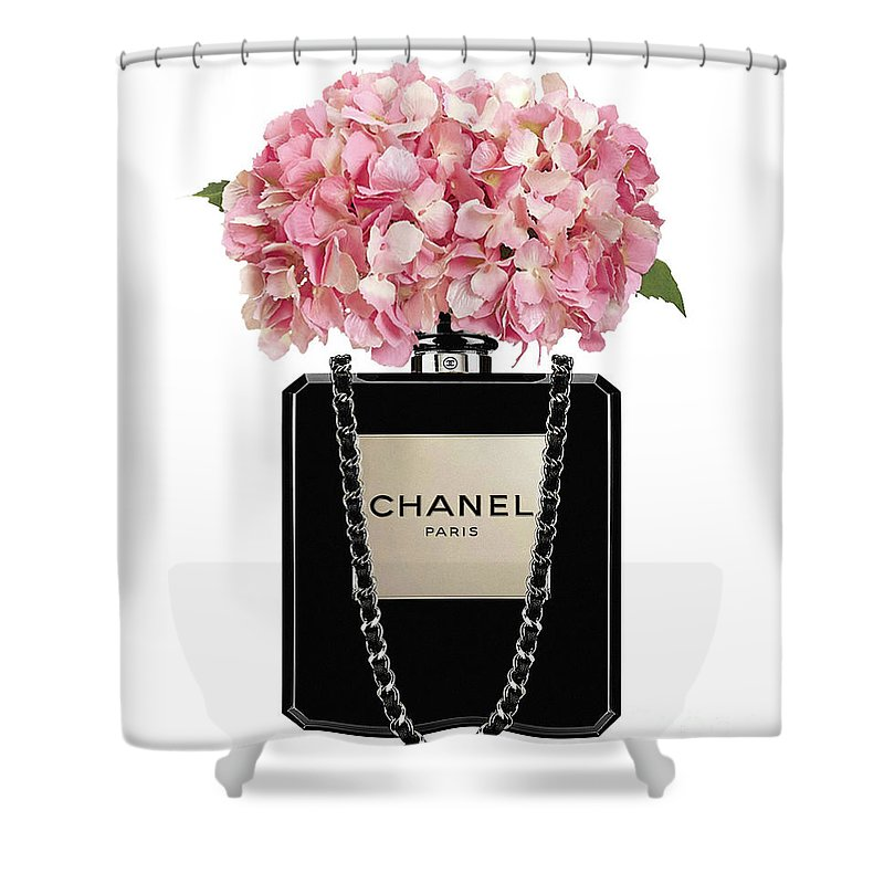 4993de667b90dc Chanel Shower Curtain featuring the painting Chanel Perfume Bag With Pink  Hydrangea 2 by Del Art
