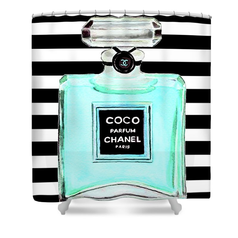 Chanel Print Shower Curtain Featuring The Painting Perfume Turquoise Poster By Del