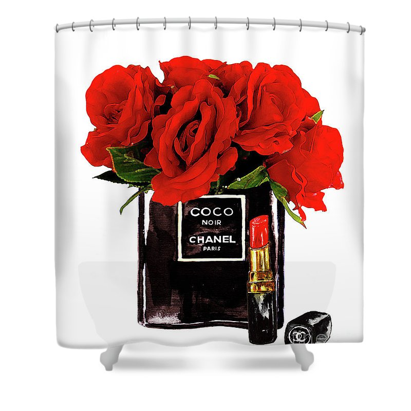 Chanel Art Print Shower Curtain Featuring The Painting Perfume With Red Roses By Del