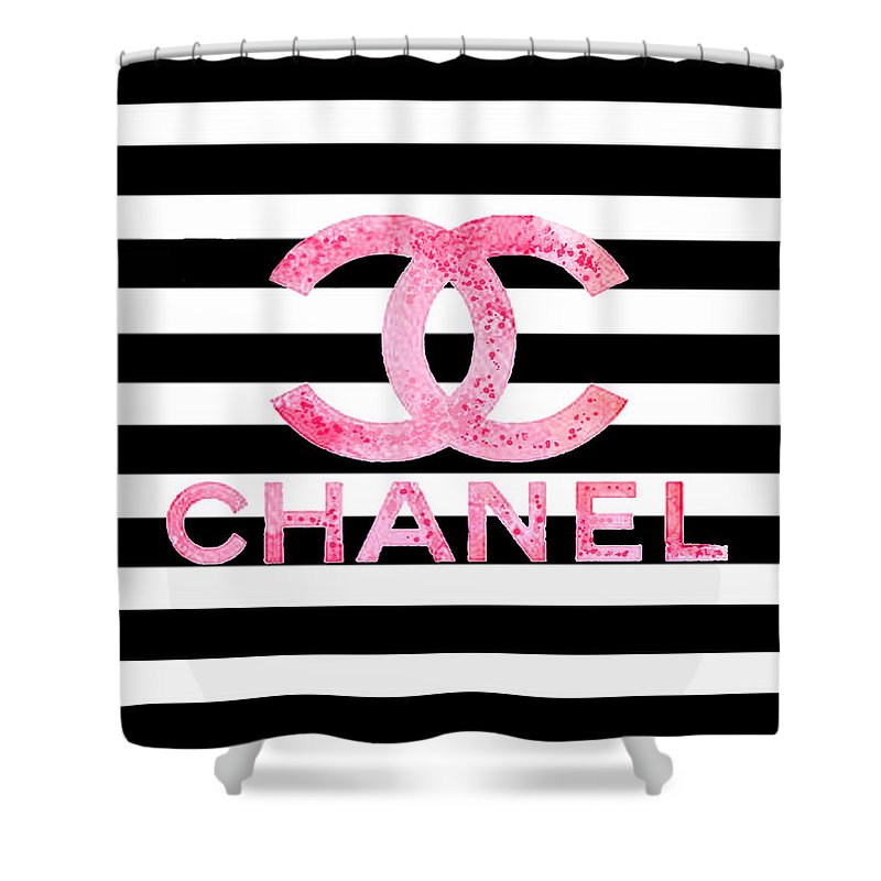 Chanel Pink Logo On Stripes Shower Curtain For Sale By Del Art