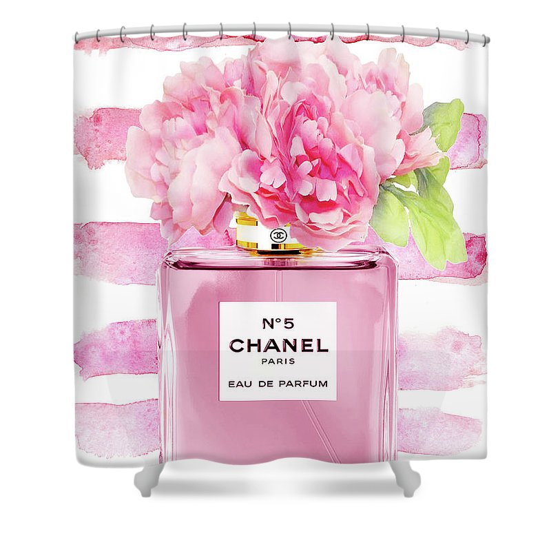 Chanel Pink On Stripes With Peony Shower Curtain For Sale By Green