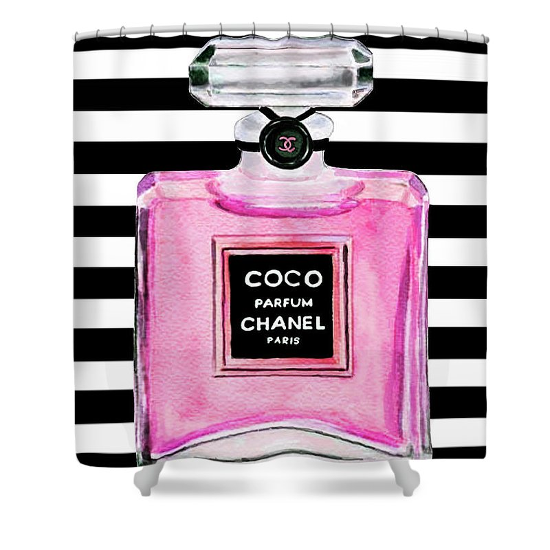 Coco Chanel Shower Curtain Featuring The Painting Pink Perfume 1 By Del Art