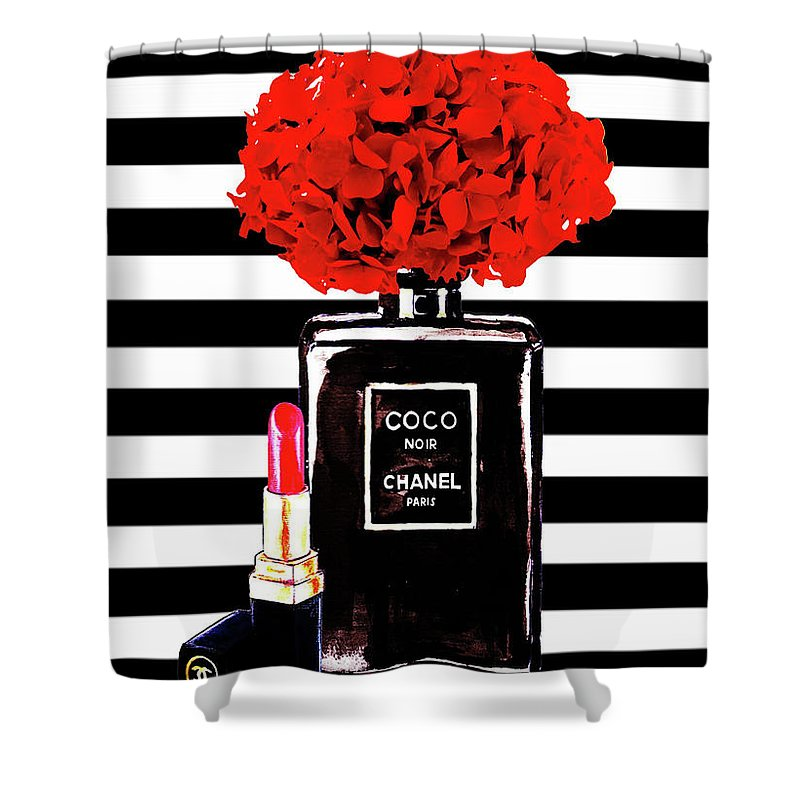 Chanel Poster Print Perfume With Red Hydragenia 3 Shower Curtain
