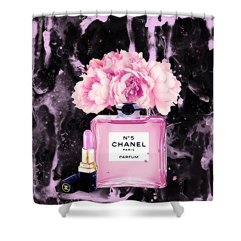 Chanel Perfume Art Shower Curtain Featuring The Painting Print Poster Peony Flower Black