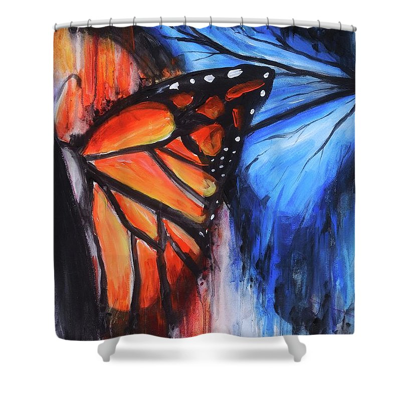 Butterfly Shower Curtain featuring the painting Change by Kelly Margo
