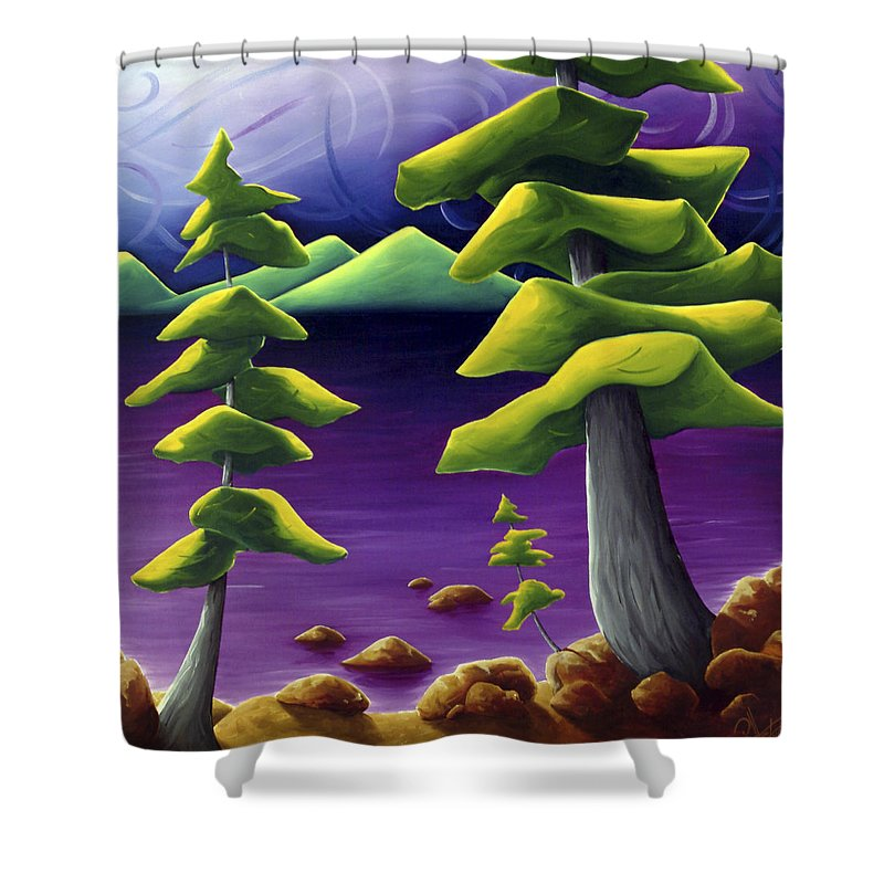 Landscape Shower Curtain featuring the painting Change Of Pace by Richard Hoedl