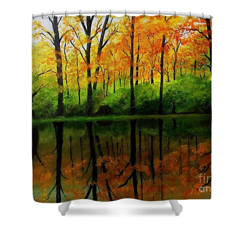 Reflections Shower Curtain featuring the painting Change Of Seasons by Jessie Lofland