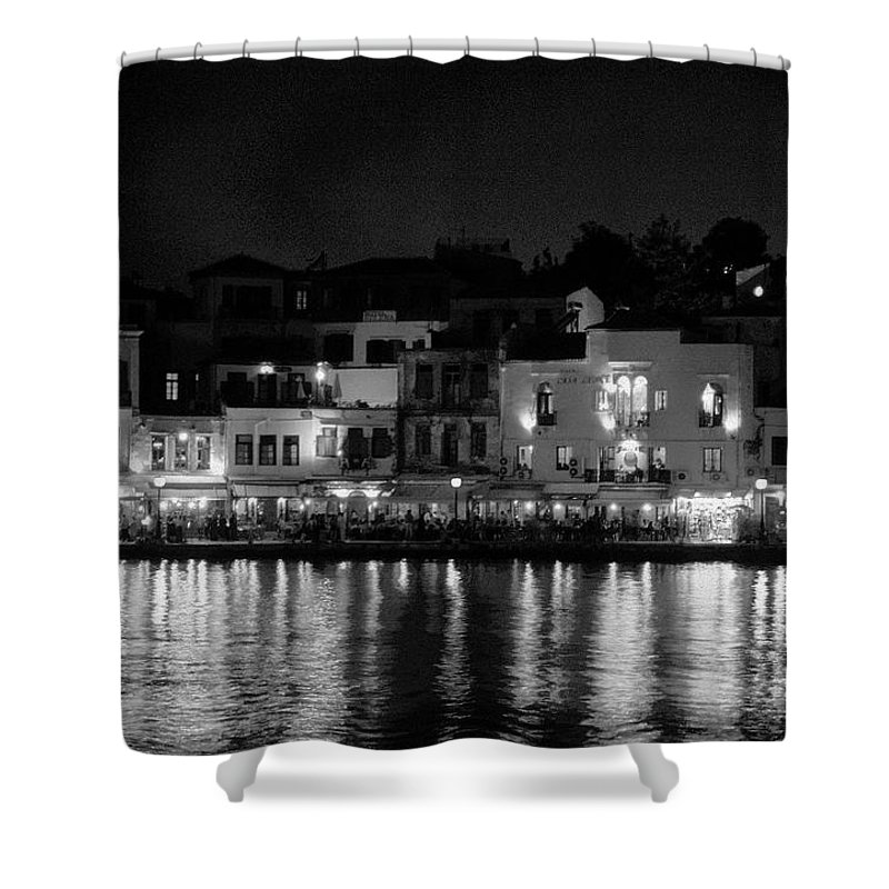 Lehtokukka Shower Curtain featuring the photograph Chania By Night In Bw by Jouko Lehto