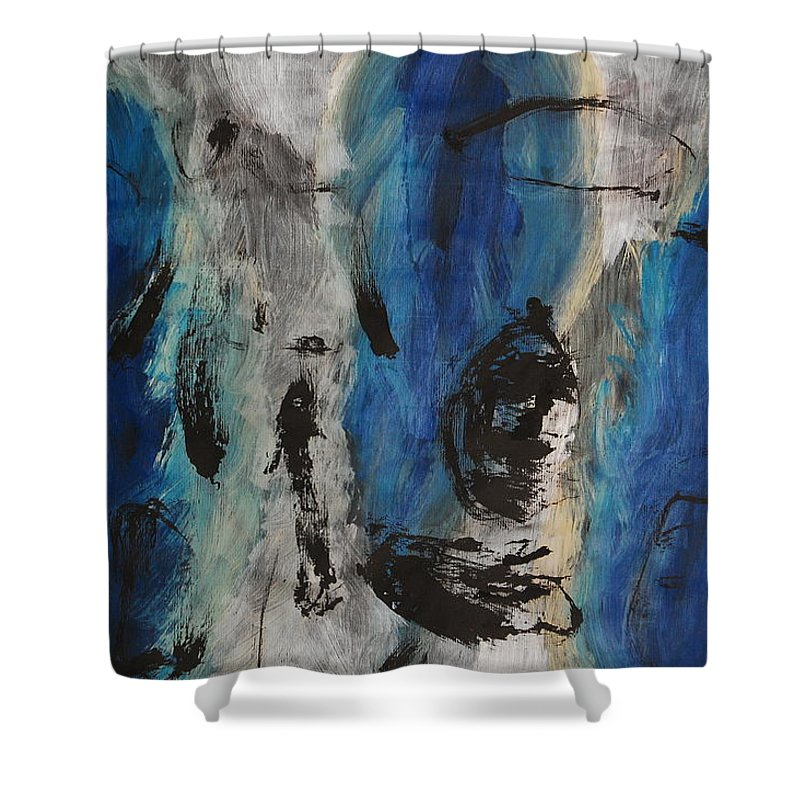 Abstract Shower Curtain featuring the painting Chaos by Lauren Luna