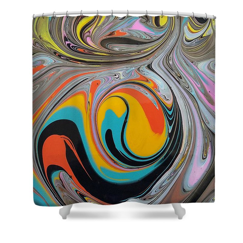 Abstract Shower Curtain featuring the painting Chaos by Rosa Lopez