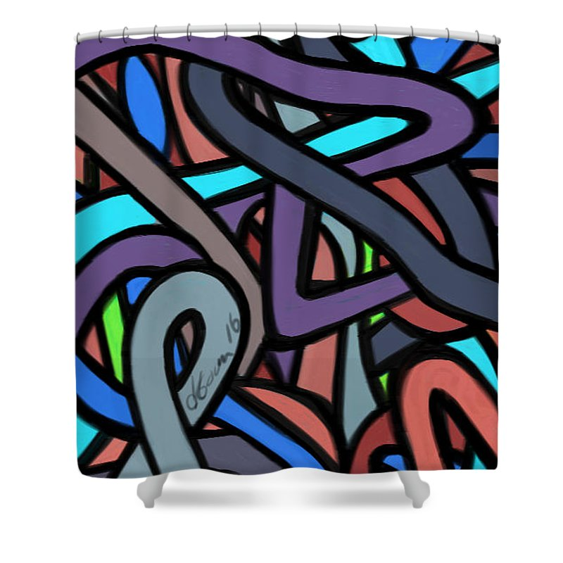 Shower Curtain featuring the painting Chaos Theory by Jeanie Goins