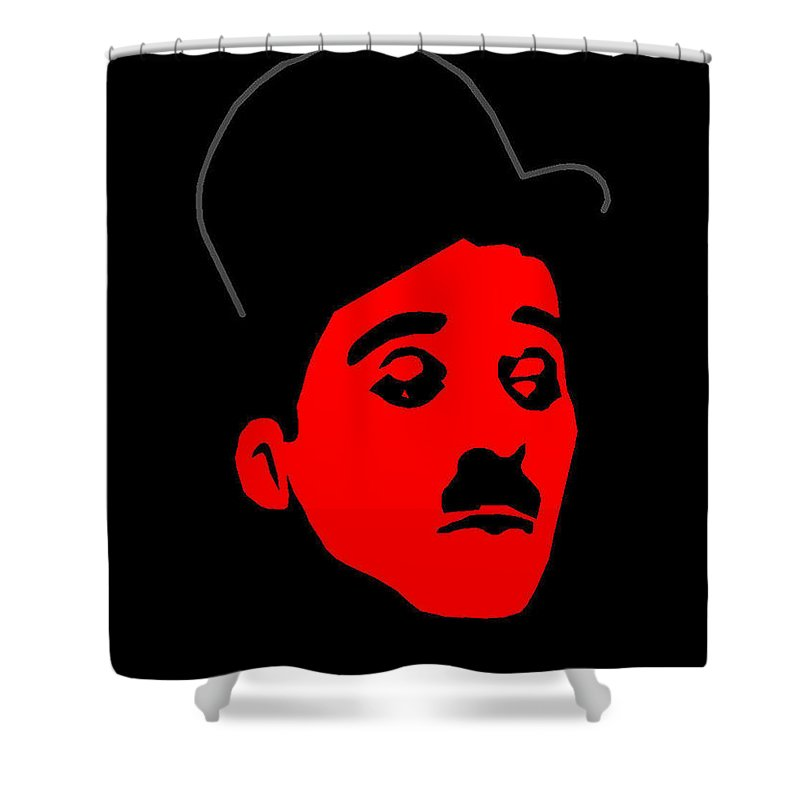 Chap Shower Curtain featuring the mixed media Chap by Asbjorn Lonvig