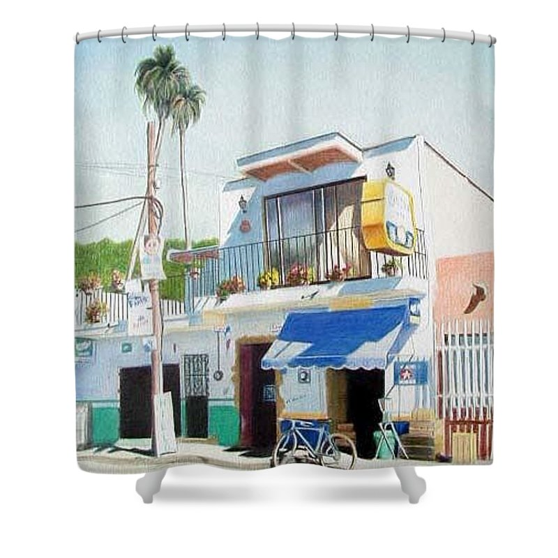 Trees Shower Curtain featuring the mixed media Chapala Store by Constance Drescher