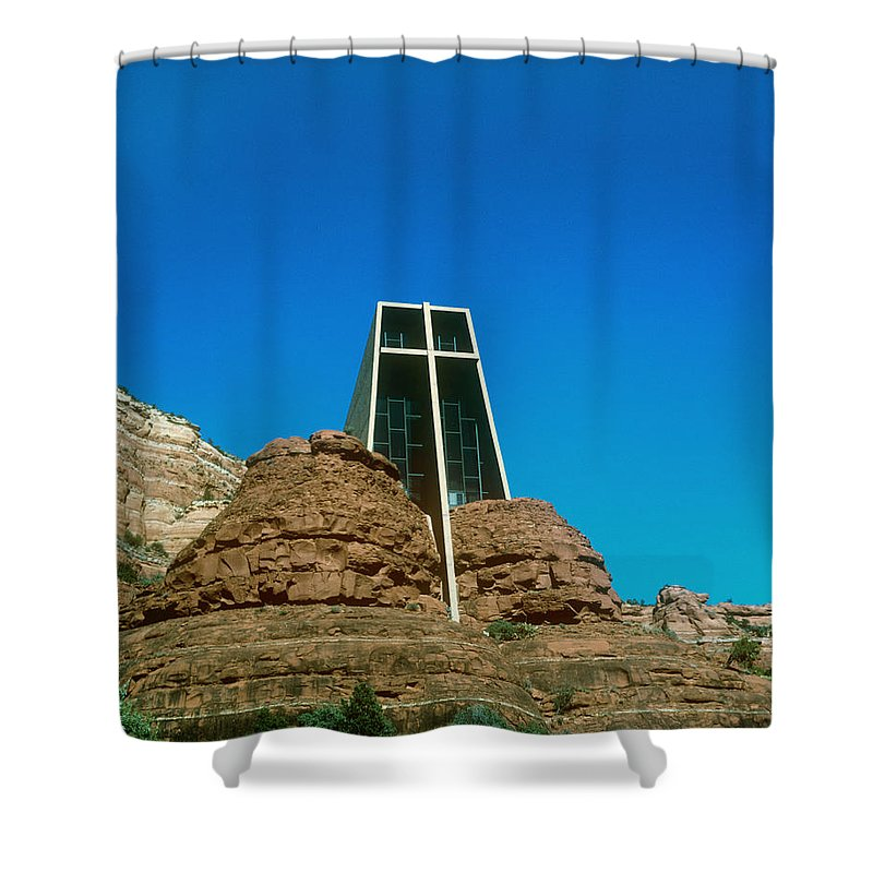 Chapel Of The Holy Cross Shower Curtain featuring the photograph Chapel Of The Holy Cross Sedona Arizona by Gary Wonning